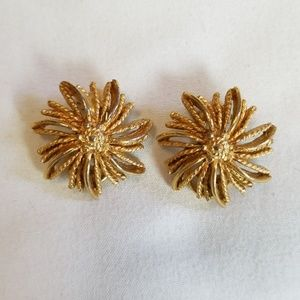 Vintage BSK Gold Tone Clip On Earrings